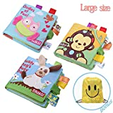 JUOIFIP My First Baby Soft Book Nontoxic Fabric Baby Cloth Books Early Education Toys Activity Crinkle Cloth Book for Toddler, Infants and Kids Perfect Gift for Baby Shower Sleep(3 pack large size)