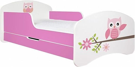 Primea Cuna infantil con búho, incluye colchón y somier, 140 x 70 rosa Rosa Talla:160 x 80 cm
