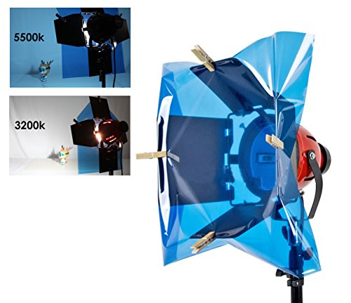 Selens 15.8X19.7inch/40X50cm Gels Color Filter Paper Correction Gel Lighting Filter for Photo Studio Light Red Head Light Strobe Flashlight with 4 Wooden Clips Blue by Selens