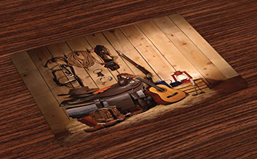 Ambesonne Western Place Mats Set of 4 by, American Texas Style Country Music Guitar Cowboy Boots USA Folk Culture Print, Washable Placemats for Dining Room Kitchen Table Decoration, Cream and Brown ()