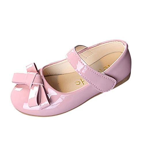 cf507ece2478a8 Mary Jane Schuhe für Mädchen Prinzessin Kunstleder Bowknot Ballerina  Festliche Kinderschuhe XXYsm Rosa 24 EU
