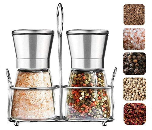 Professional Salt and Pepper Grinder Set With Stand Manual Salt and Pepper Mills with Stainless Steel and Glass Body Adjustable Ceramic Rotor for Seasoning by COVELYA