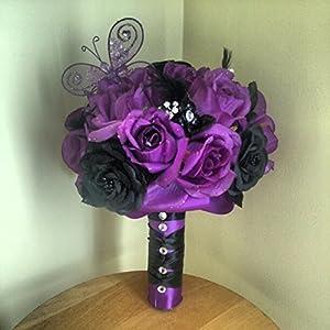 Purple and Black Silk Wedding Bouquet 41