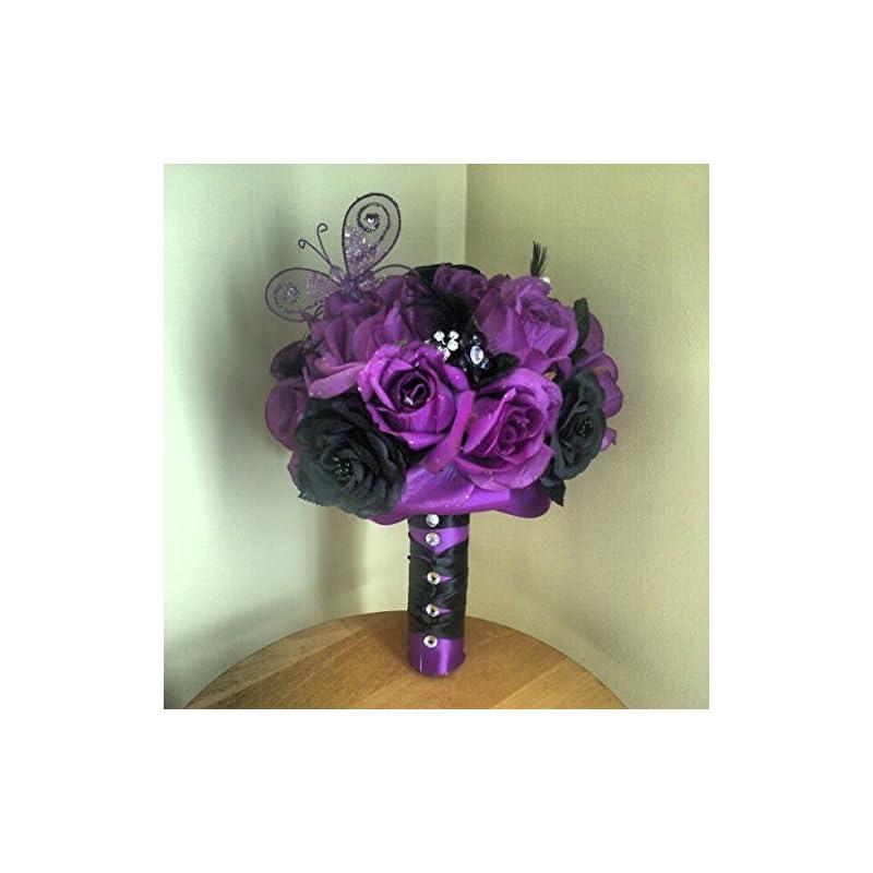 silk flower arrangements purple and black silk wedding bouquet