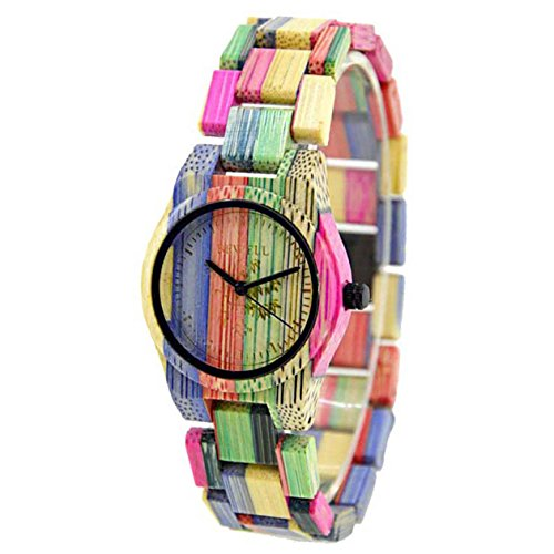 Bewell Women's Fashion Colored Bamboo Wooden Watch Quartz Handmade Bracelet Wristwatch
