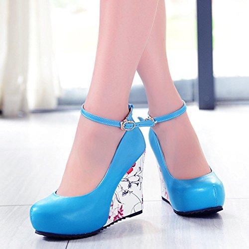 Azbro Mujer Zapato Bomba Tacón Cuña con Correas a Tobillo Azul