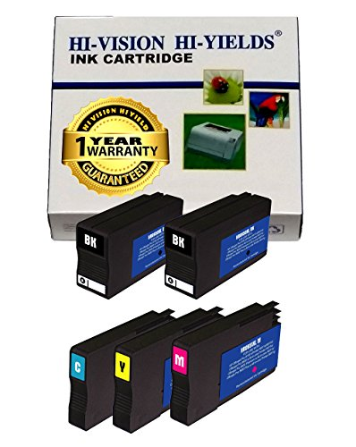 Price comparison product image HI-VISION 5 pks Remanufactured HP 950XL 951XL (NEW CHIP) Ink Cartridge Replacement Set 2xBlack,Cyan,Yellow,Magenta for Officejet 8100,8600,8600 Plus,Pro 8625,8630,8640,8660 e-All-in-One