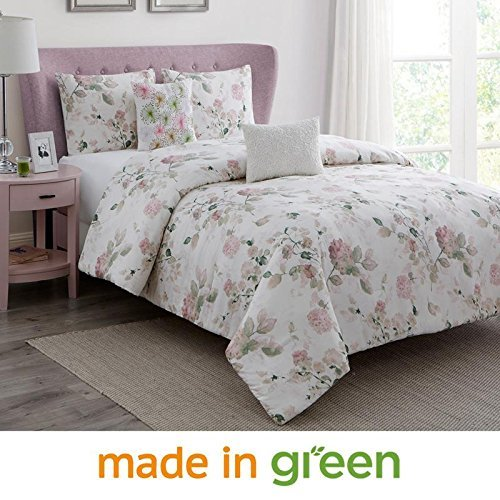 "Wonder-Home WonderHome 5-pc. Floral Cotton Comforter Set, 2018 Trending Design Luxury Bedding Set Overfilled with Plush Polyester, Oversized, Medium Weight, King, 106""x96"""