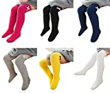 Little Girls Knee High Socks Cute Bowknot Cotton Cable Knit Toddler Dress Socks Assorted 6 Colors,L(3-12 Years)