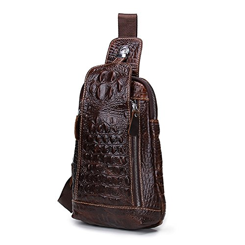 (Contacts Vintage Genuine Leather Mens Alligator Daypack Crossbody Travel Shoulder Bag Coffee, Dark Brown, one size)