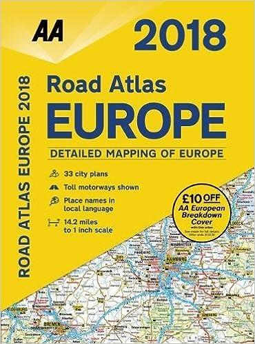 Spiral-bound 2018 Road Atlas Europe