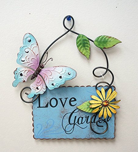 "Metal Butterfly & Flower Plaque Wall Art Hanging Spring Garden Decor 10"" Tall (Blue)"