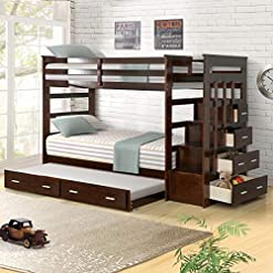 Bedroom Wood Bunk Bed for Kids, Twin Over Twin Bunk Bed Frame with Trundle and Staircase, Espresso Finish bunk beds