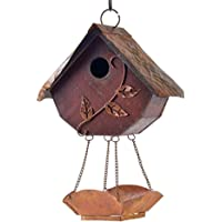 Glitzhome Hanging Distressed Wooden Garden Bird House, Red