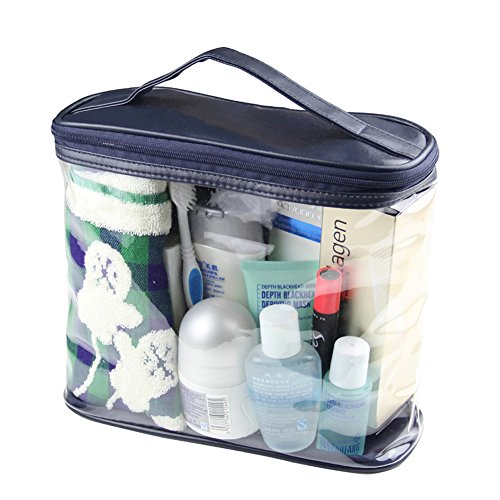 - HaloVa Transparent Toiletry Bag, Clear Travel Makeup Pouch Sundry Bag, Cosmetics and Toiletries Organizer Bag with Top Handle for Men and Women, Dark Blue