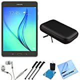 Samsung Galaxy Tab A SM-T350NZAAXAR 8-Inch Tablet (16 GB, Smoky Titanium) Bundle includes Tablet, Headphones, Sleeve, 3 Stylus Pens, Lens Cleaning Kit and Micro Fiber Cloth