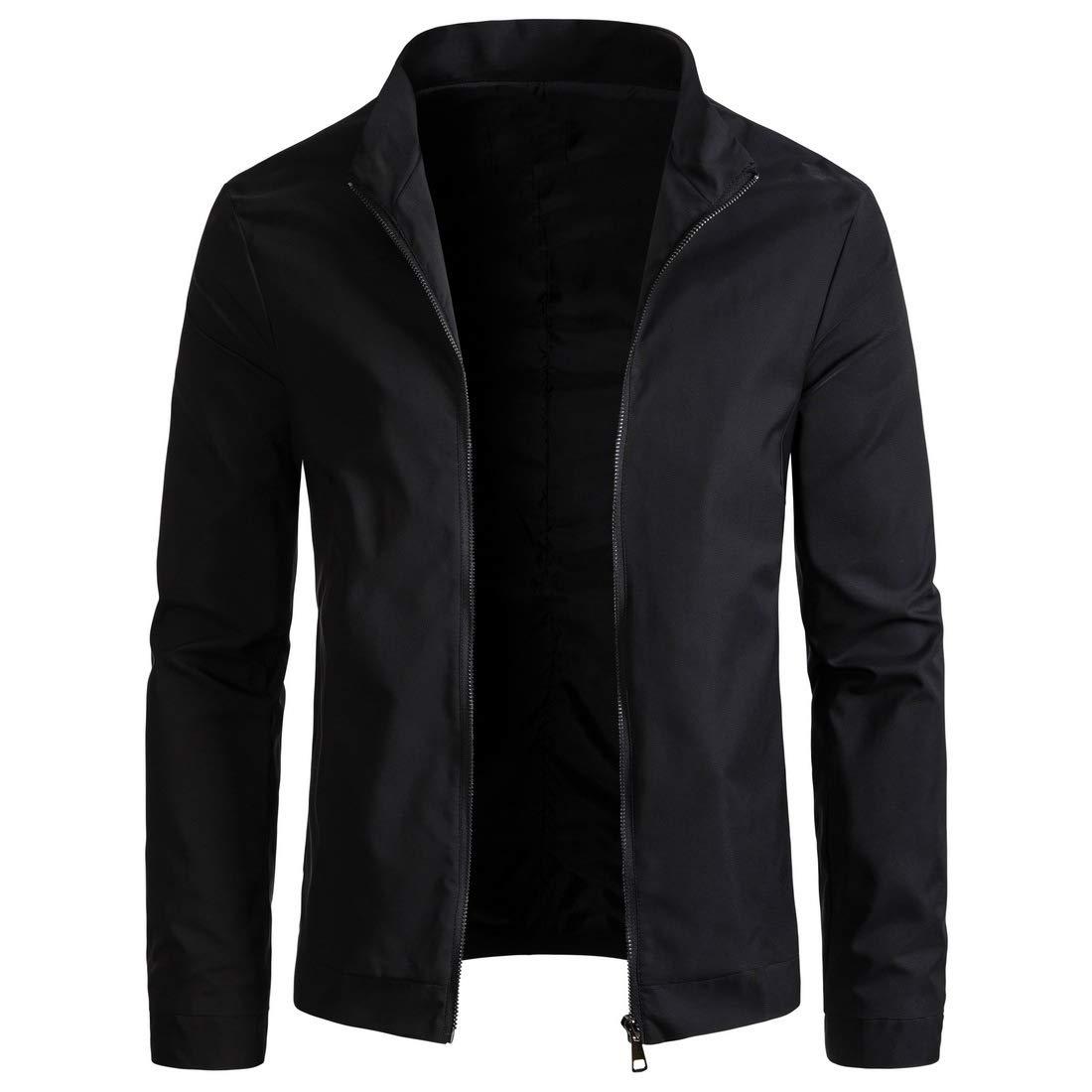 WULFUL Mens Slim Fit Lightweight Windbreaker Casual Jacket Waterproof Outdoor Sportswear Black by WULFUL