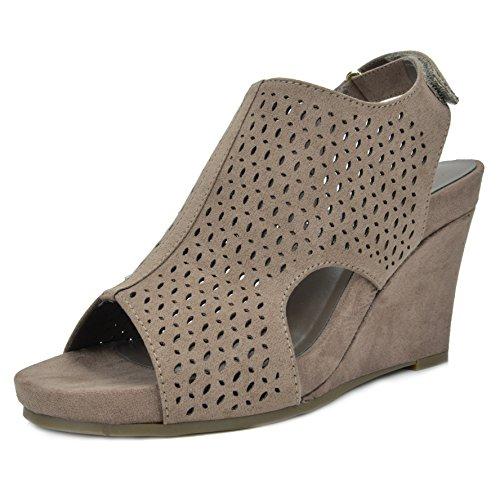 TOETOS Women's Solsoft-6 Taupe Mid Heel Platform Wedges Sandals - 9.5 M US by TOETOS
