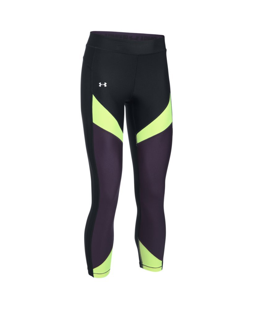 Under Armour Women's HeatGear Color Blocked Ankle Crop, Black /Metallic Silver, X-Small by Under Armour (Image #4)