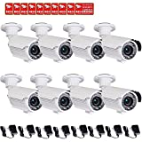 VideoSecu 8 Pack Bullet Security Cameras Built-in SONY Effio CCD Home CCTV Video IR Zoom 700 TVL Outdoor Day Night 4-9mm Zoom Focus Lens 42 Infrared Leds for DVR with Power Supplies IRE96W BTV