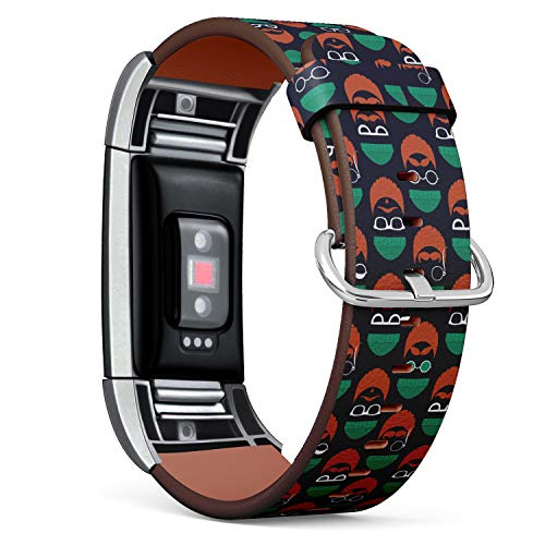 (R-TECH Leather Replacement Strap Compatible with Fitbit Charge 2 - Funny Faces of St. Patrick's Day)