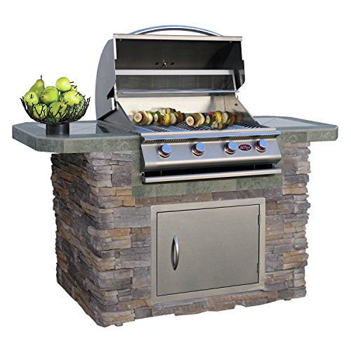Cal Flame LBK-601-AS Outdoor Kitchen Island with 4-Burner Built in Grill 27