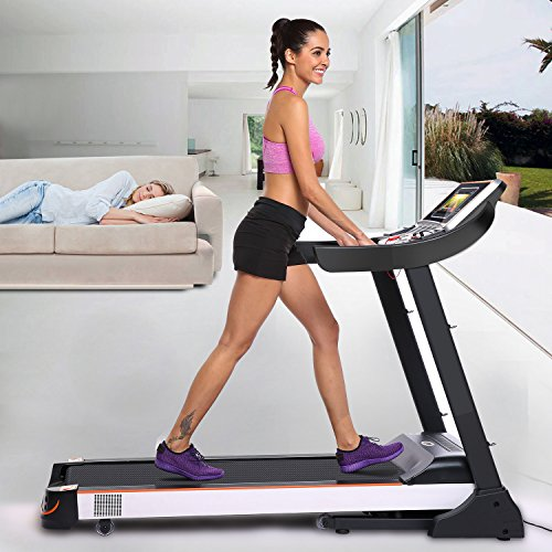 "Acazon 3.0HP Folding Electric Treadmill 10.1"" WIFI Color Touch Screen Fitness Treadmill Walking Running Machine US STOCK"