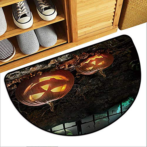 Half Round Door Mat Halloween Pumpkins on Rocks in a Forest at Night Garage Entry Carpet Decor W35xH23 INCH