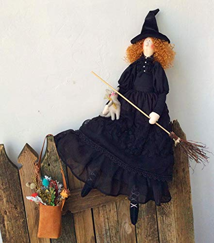 Tilda Little Witch Samantha Doll Cloth doll Soft toy Rag doll Fabric doll Home decor Kitchen decor Mothers Gift for Girl Fairytale -