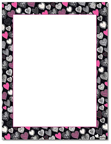 (Pink Black Hearts Stationery Paper - 80 Sheets - Great for Valentine's Day!)