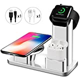 iPhone Wireless Charger Stand Apple Watch Airpods Charging Station, Aluminum Charging Docks for AirPods/Apple Watch Series 3&2&1/iPhone X/8/8 Plus/Samsung Note 8/S8/S8 Plus- (3 in 1)