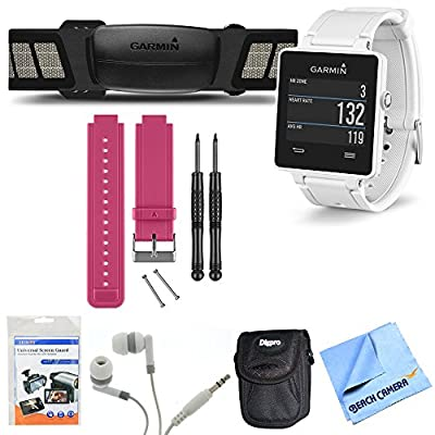 Garmin vivoactive GPS Smartwatch White with Heart Rate Monitor Berry Band Bundle includes includes White vivoactive GPS Smartwatch, Heart Rate Monitor, Berry Replacement Band, Screen Protectors, Headphones, Carrying Case and Micro Fiber Cloth