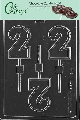 Molded Chocolate Candy - Cybrtrayd L047 No. 2 Lolly Chocolate Candy Mold with Exclusive Cybrtrayd Copyrighted Chocolate Molding Instructions