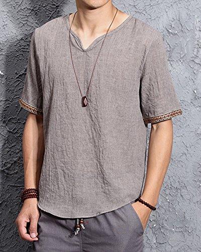 shirt Homme Coton Col Chemise Tops Café V En Lin Été Mode Manches Désinvolte Minetom T Courtes Tqdcvq