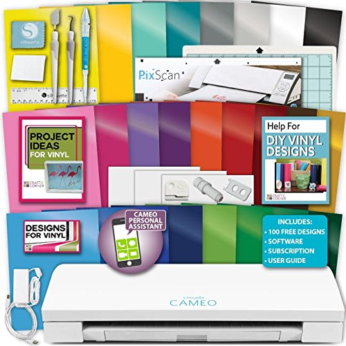 Silhouette Cameo 3 Machine Bundle Vinyl Starter Bundle- 25 Sheets Oracal 651 Permanent Vinyl with Transfer Paper, Tools, Vinyl designs, PixScan Mat by Silhouette America