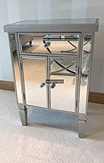 Venetian Mirrored Cabinet Silver Antique Style Sideboard Shabby ...
