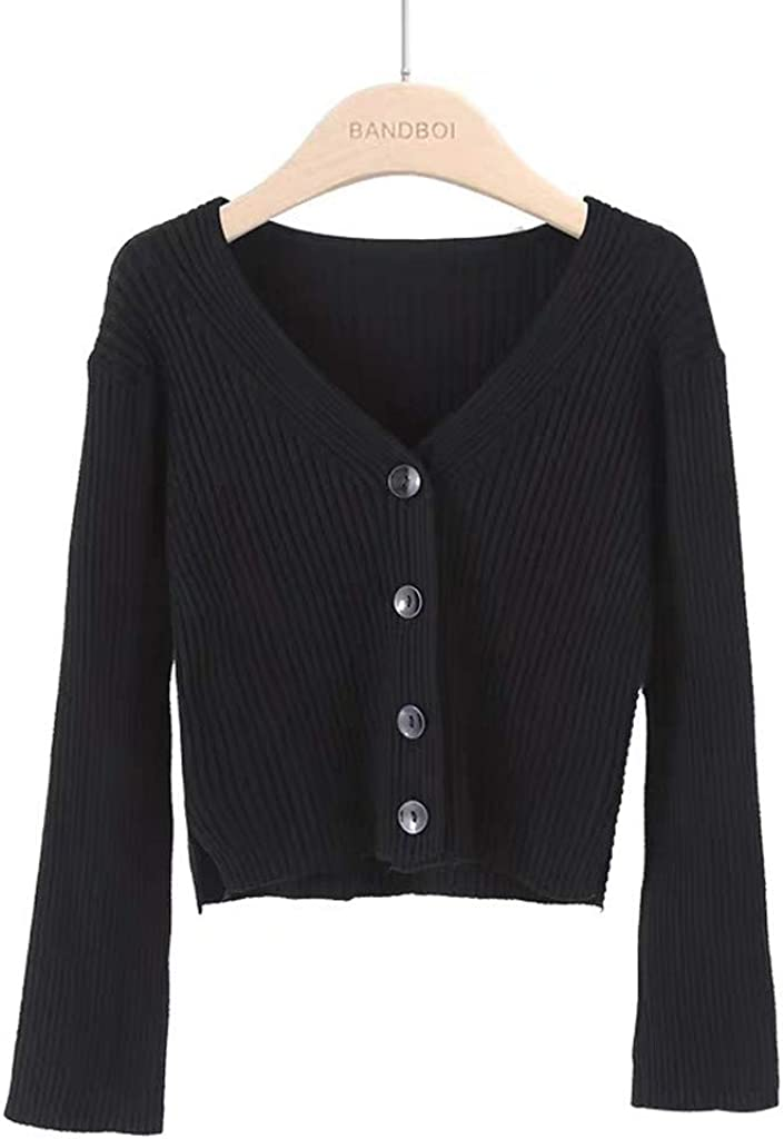 Autumn and Winter Womens All-Match Short Long-Sleeved Solid Color pin Cardigan Jacket CHMORA Womens top
