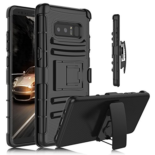 Galaxy Note 8 Case, Venoro Heavy Duty Armor Holster Defender Full Body Protective Case Cover with Kickstand and Belt Swivel Clip for Samsung Galaxy Note 8 6.3 2017 Release (Black)