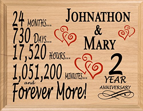 Broad Bay 2 Year Personalized Second Wedding Anniversary Two Year Gift for Wife Husband Couple Him Her