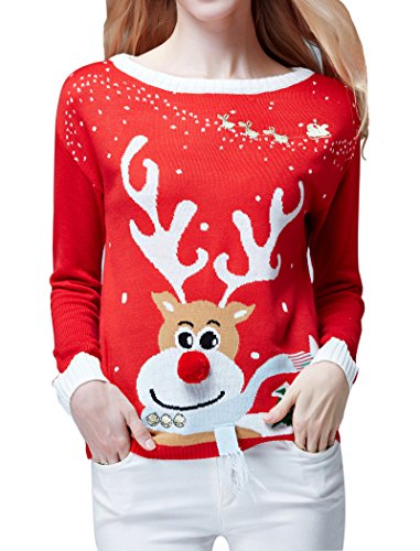 [Ugly Christmas Sweater, V28 Women's Ladies Girls Cute Reindeer 3D Nose Sweater(S, Red)] (Xxl Santa Suits For Sale)