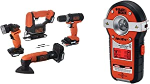 BLACK+DECKER GoPAK Cordless Drill Combo Kit, 4 Tool with Line Laser, Auto-leveling with Stud Sensor (BDCK502C1 & BDL190S)