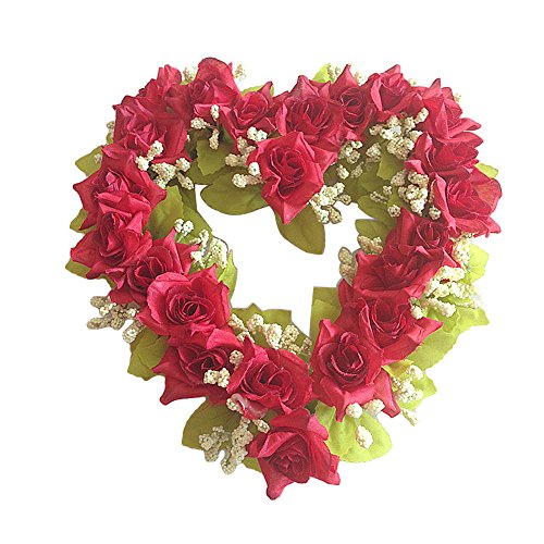 (GUFIKY Simulation Rose Flowers Wreath Vintage Art Pink Heart-Shaped Garland for Home Wedding Decoration)