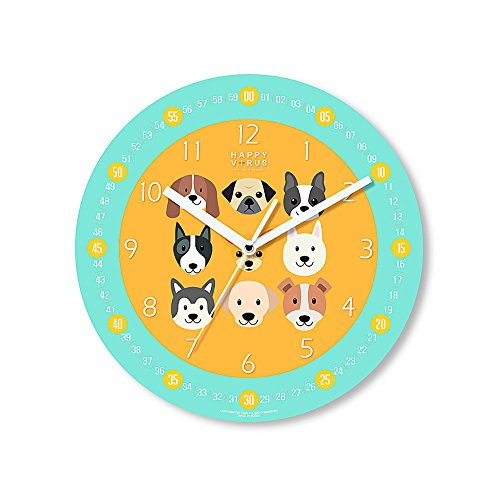 HappyVirus 11.22'' Educational Wall Clock, Children's Time Telling Teacher, Silent Non Ticking Home Decoration (9 Dogs) #2108 by HappyVirus