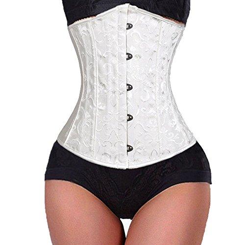 U-Pretty Cinturón de las mujeres cinturón de satén trainer acero espiral deshuesado Underbust Weiße Blumen