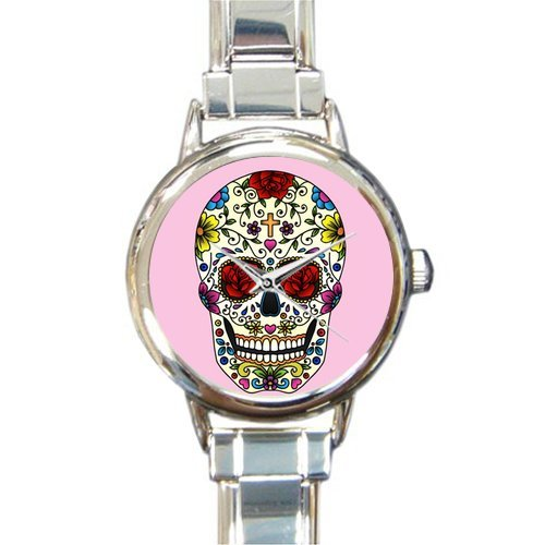 (Personalized Watch Beautiful Colorful Sugar Skull Round Italian Charm stainless steel Watch)
