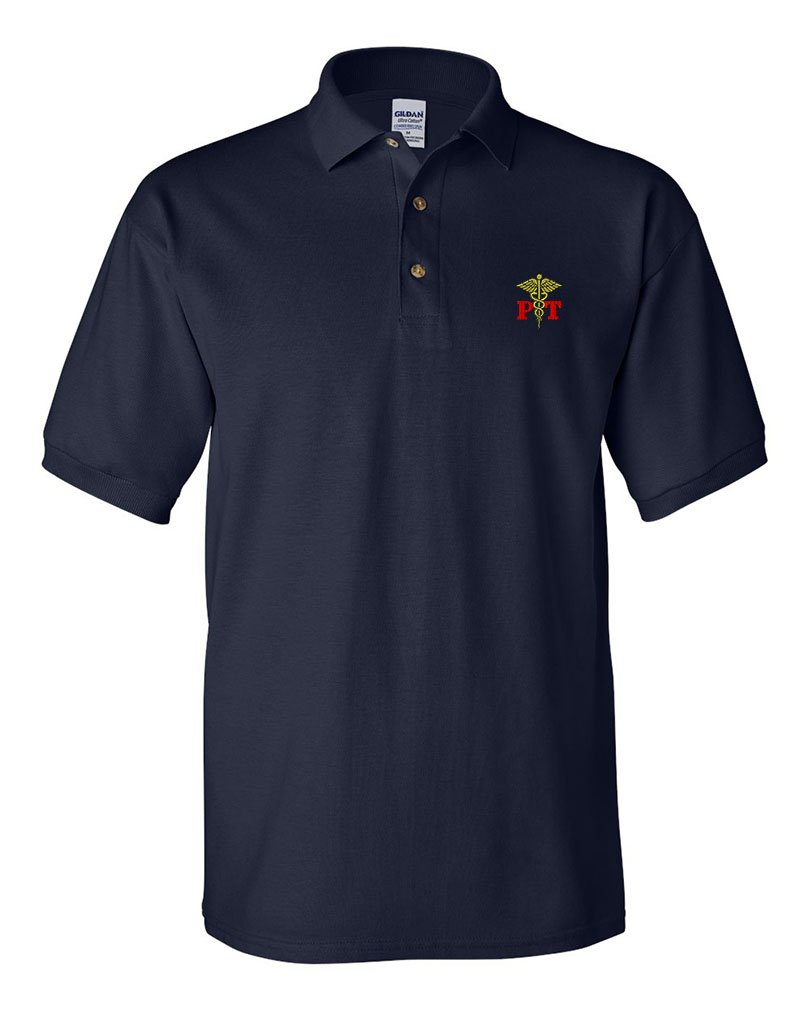 Physical Therapy Occupation #1 Sewed Adult Button-End Spread Short Sleeve Unisex Cotton Polo Shirt Golf Shirt - Navy, Medium