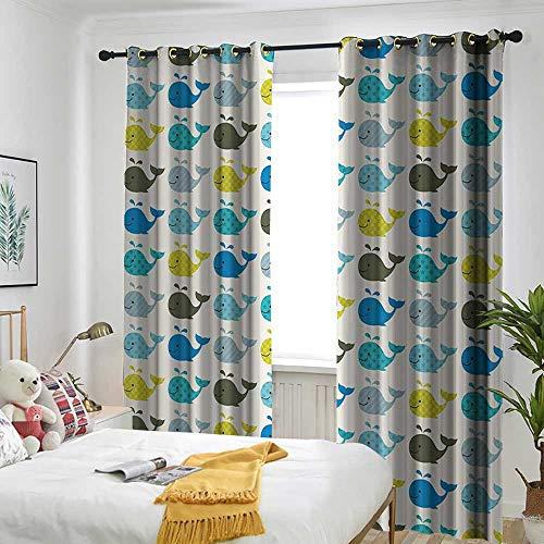Silver Mosaic Quality Show (AndyTours Whale Decor Custom Curtain Little Tiny Colored Whales in Row and in Cartoon Style Perfect for Kids Room Room Darkening Thermal 96