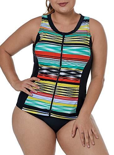 - XAKALAKA Women's Zip-Front Multicolor Striped Sleeveless Plus Size Tankini Rashguard Tops S-XXXL Multicolor XL