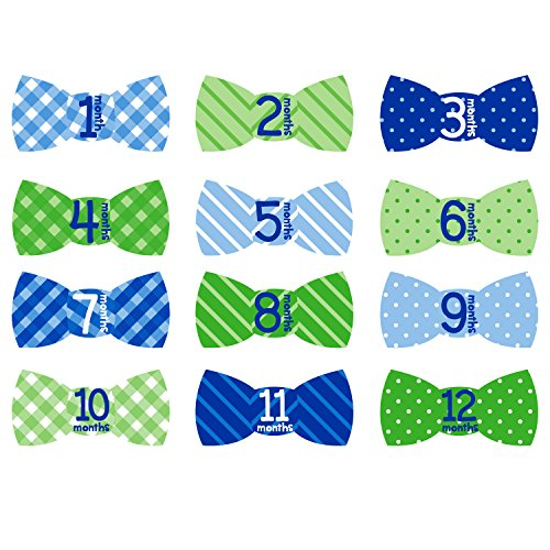 Stick On Baby Bows (Tiny Ideas First Year Monthly Milestone Bowtie Photo Sharing Baby Belly Stickers, 1-12 Months, Blue)