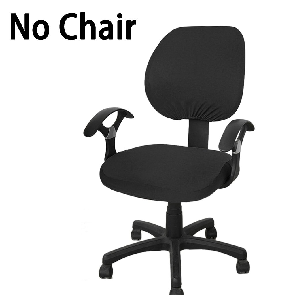BTSKY Computer Office Chair Covers- Universal Stretchable Chair Cover Polyester Chair Cover Washable Rotating Chair Slipcover (Black)